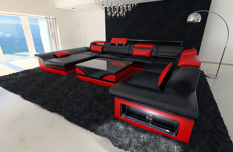 Sofa Wohnlandschaft Enzo XXL Designer Couch + LED schwarz - rot ...
