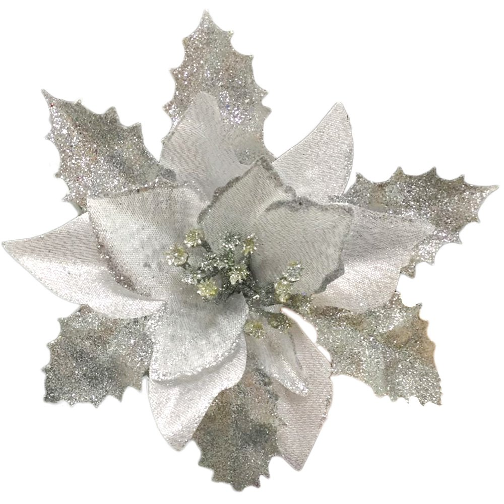 Silver Glitter Christmas Artificial Poinsettia Flowers Set of 12 | ChristmasTablescapeDecor.com