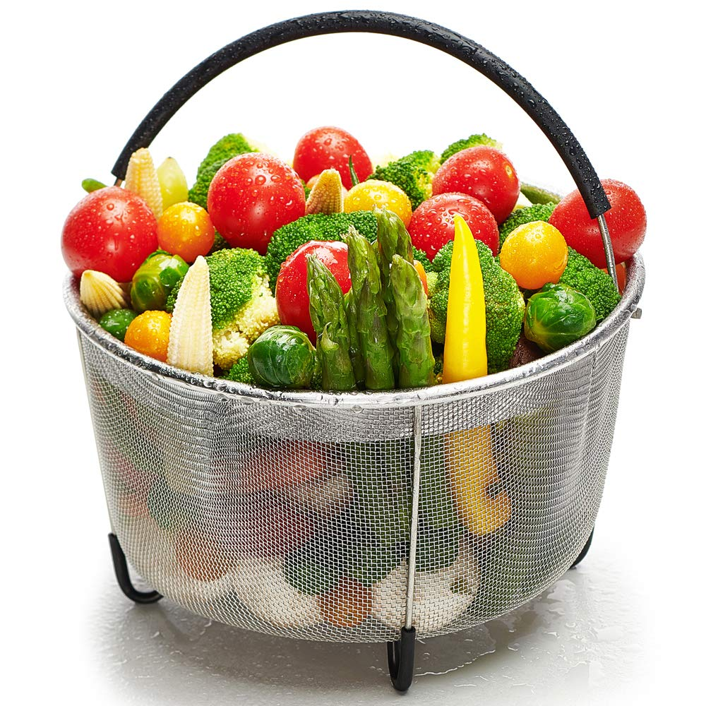 Ecardy 6qt Steamer Basket Compatible with Instant Pot Accessories 6 qt [3qt 8qt available] - Compatible with Instant Pot Steamer Basket 6 quart - Steam Vegetables, Eggs - Fits Most Pressure Cookers