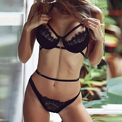 Tsmile Hot Sale{Womens Halter Lingerie}❤️Clearance✿Corset/Lace/Bandage Push Up Top Bra+Pants Underwear 2PCs Set at Amazon Womens Clothing store: