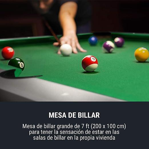Oneconcept Liverpool - Mesa de Juego 3 en 1, para Comer, de Ping Pong, Mesa de Billar: 100 x 200 cm/Verde, Mesa de Ping Pong: 121,5 x 213 cm/Azul, Mesa para Comer: