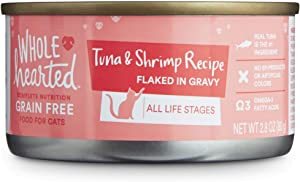 WholeHearted All Life Stages Canned Cat Food - Grain Free Tuna and Shrimp Recipe Flaked in Gravy, 2.8 OZ., Case of 12, 12 X 2.8 OZ