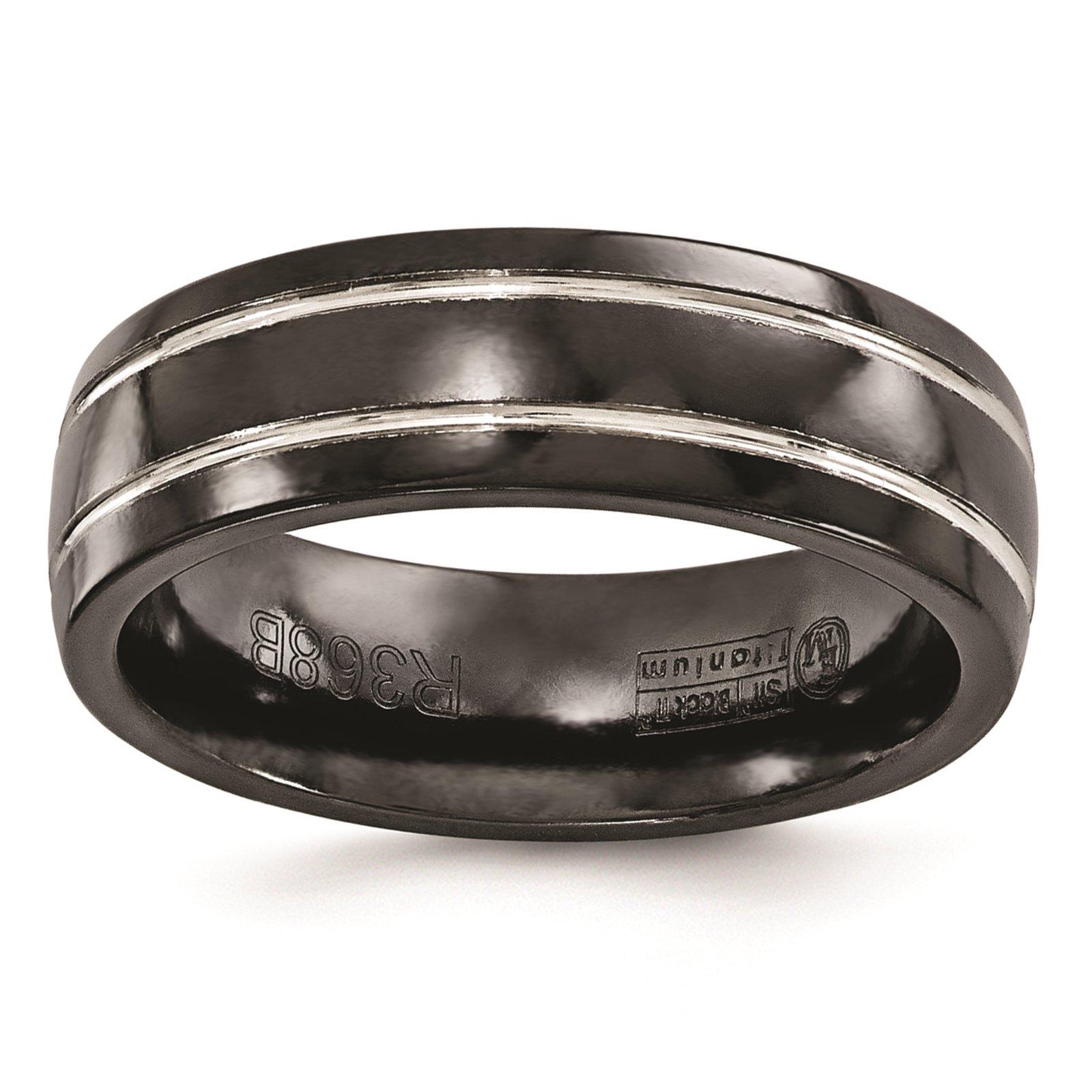 Titanium Black Ti & Grey Grooved 7mm Wedding Ring Band Size 8.5 by Edward Mirell by Venture Edward Mirell Titanium Bands (Image #1)