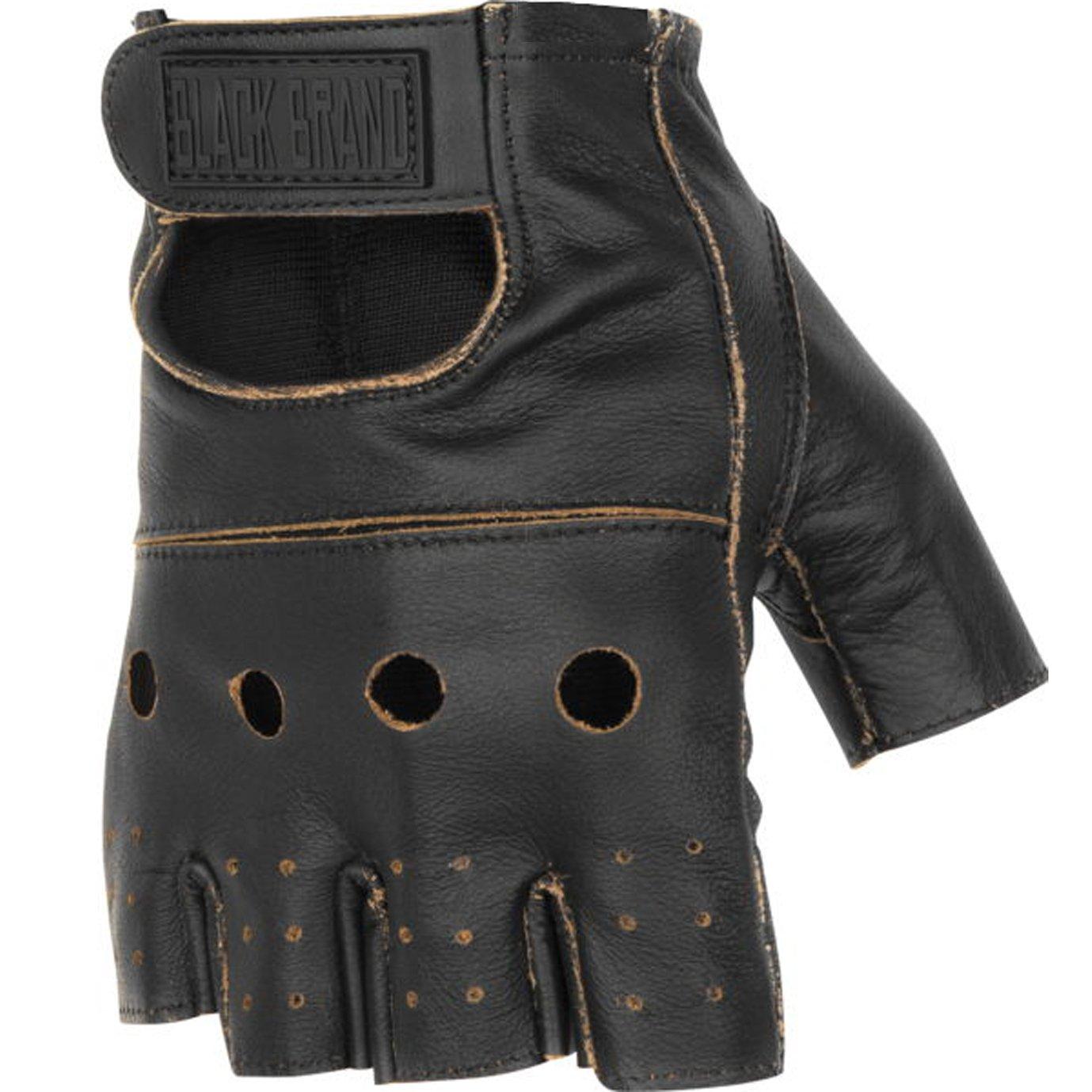Black Brand Men's Leather Vintage Knuckle Shorty Motorcycle Gloves (Brown, Medium)