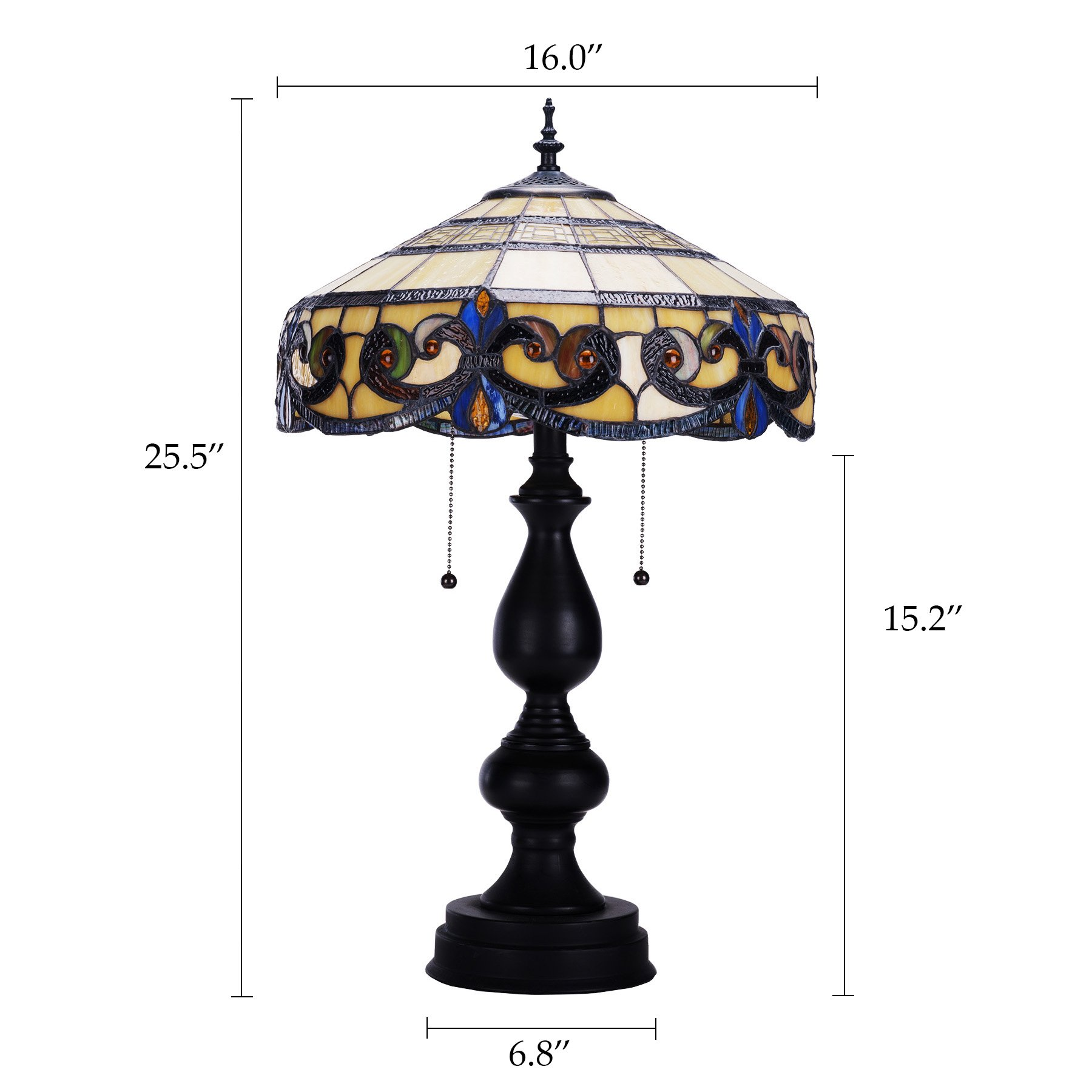 CO-Z Tiffany Style Table Lamps, 2-Light Victorian Desk Lamp with 16 Inches Stained Glass Shade, 25.5 Inches Height by CO-Z (Image #6)
