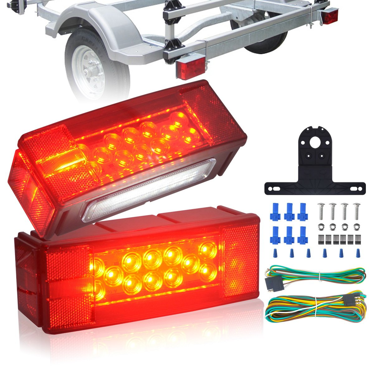 KASLIGHT IP68 Waterproof Trailer Lights, Boat Trailer light Led Boat Trailer Lights Submersible, Rectangular Led Trailer Lights,Marine Trailer Lights Tail Lights Stop Turn License Brake Over 80 Inches