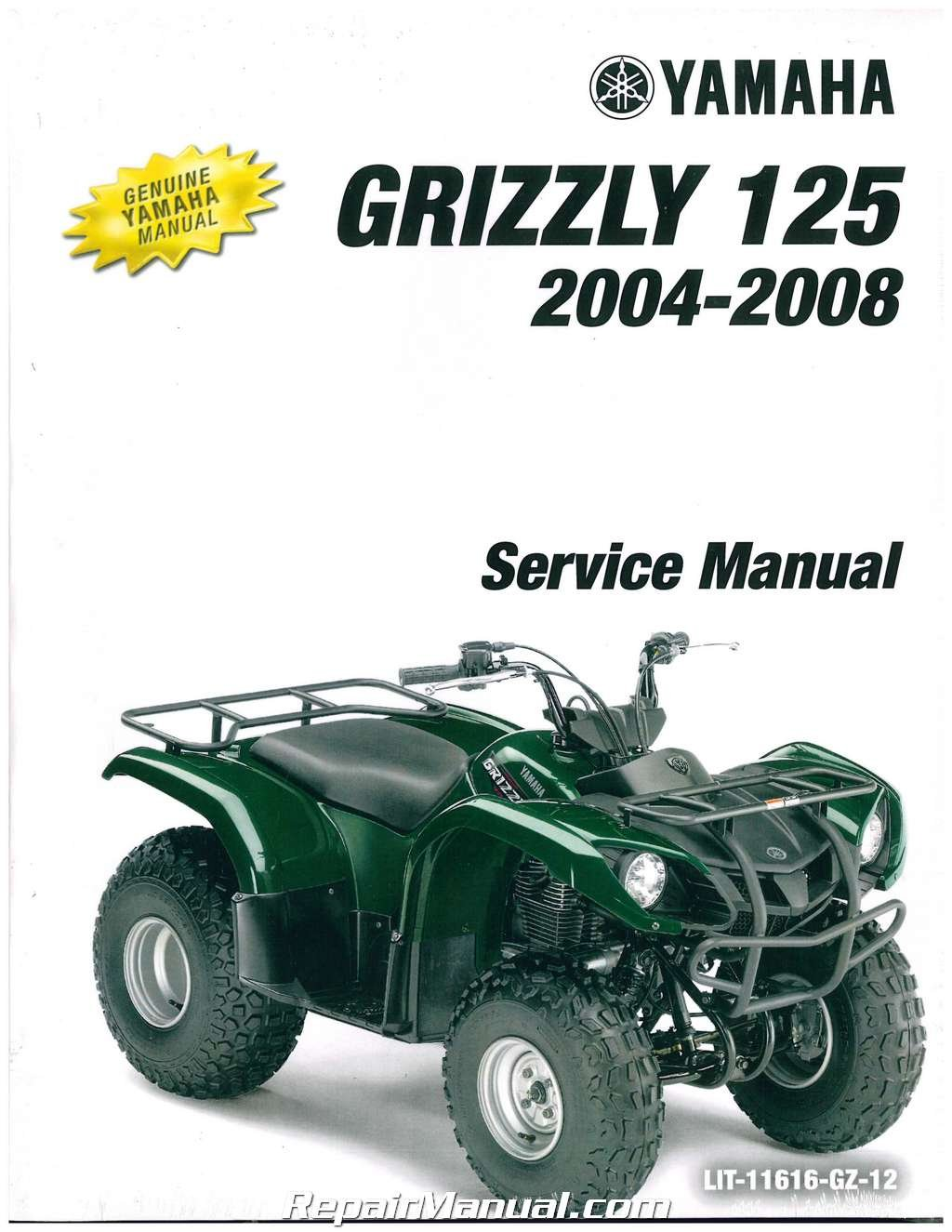 LIT-11616-GZ-12 2004-2013 Yamaha YFM125G Grizzly 125 Automatic Service  Manual: Manufacturer: Amazon.com: Books