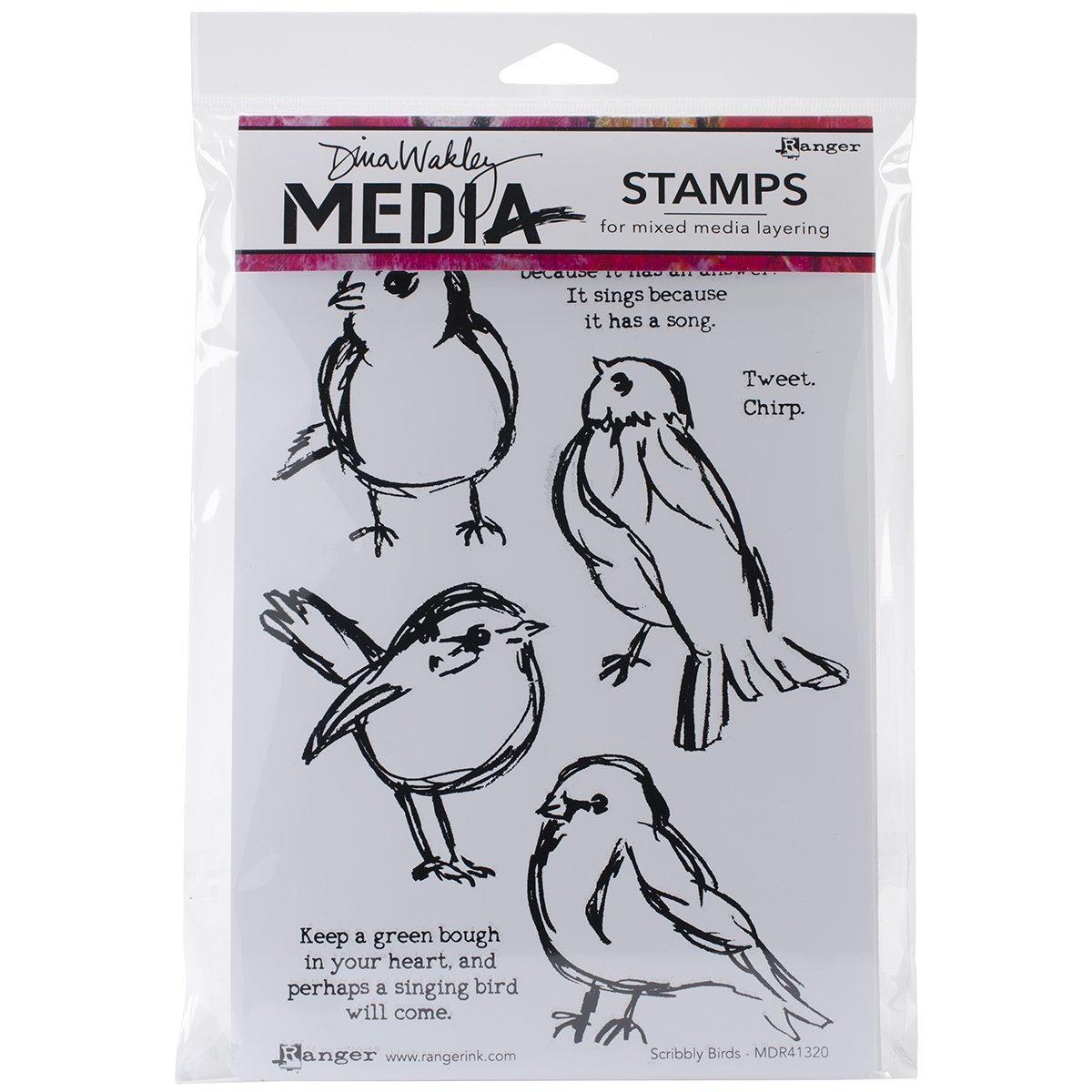Ranger Dina Wakley Media Unmounted Rubber Stamps Scribbly Birds (3 Pack)