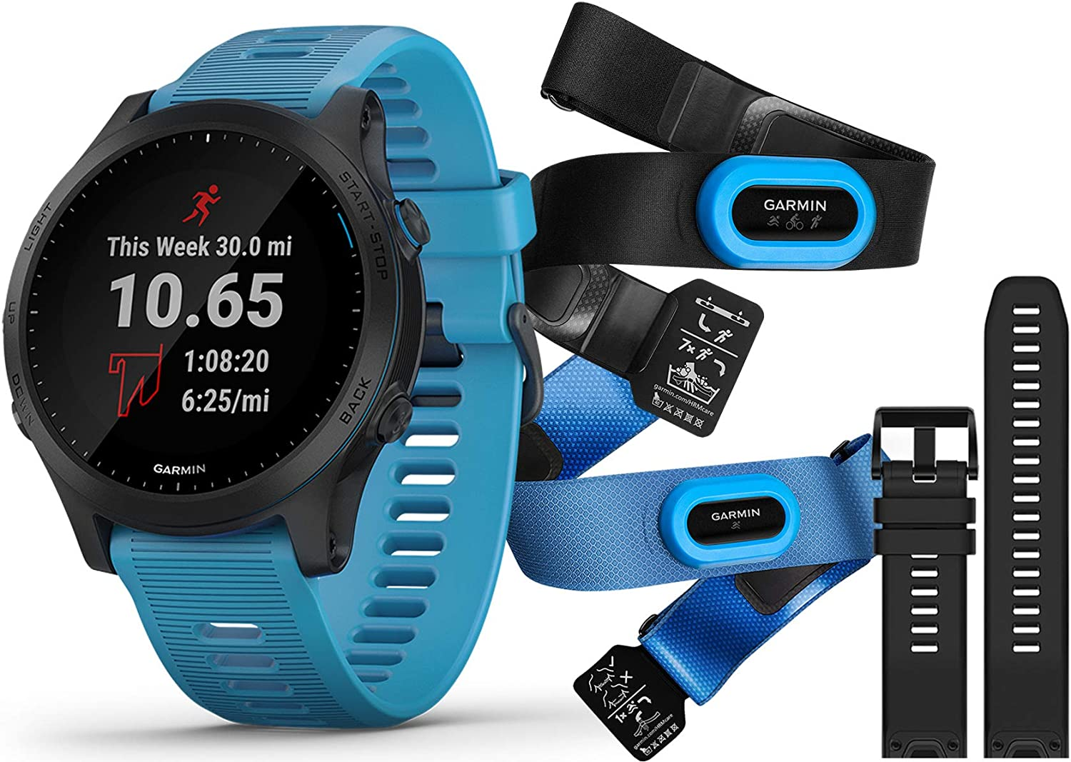 Garmin Forerunner 945 Tri-Bundle Runner s Bundle Includes Garmin Water Bottle, HRM-Tri HRM-Swim Chest Straps, HD Screen Protectors x4 , Watch Bands x2, Blue Black PlayBetter Charger