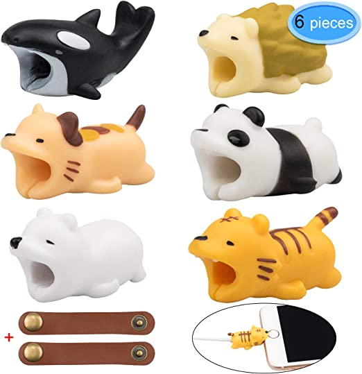 6 Pcs Animal Charger Cable Protector Cute Animals Usb Charger Cord Bites Tiger Cat Hedgehog Orca Panda Polar Bear With 2pcs Cable Leather Ties By Eaone Amazon Ca Cell Phones Accessories
