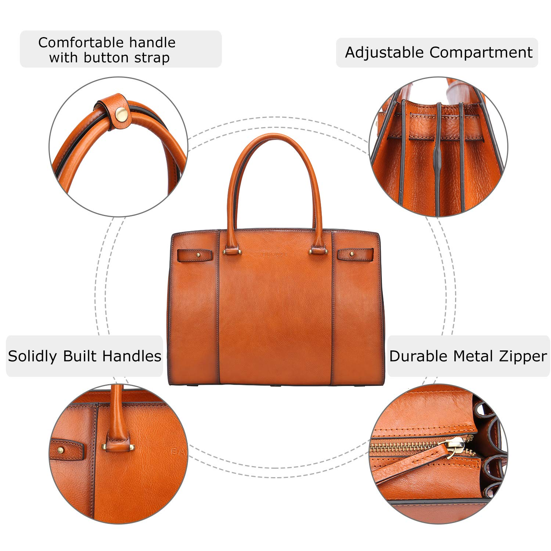 Banuce Vintage Full Grains Italian Leather Handbag for Women Ladies Business Briefcase a4 Handle Bag Tote Purse Large Capacity Travel 13 Inch Laptop Attache Case RTOFYBW165-DB
