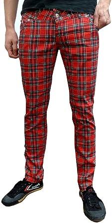 Amazon Com Para Hombre Pantalones De Desague De Tartan Rojo De Cuadros Skinny Slim Mod Punk Jeans Rojo Red Tartan Clothing