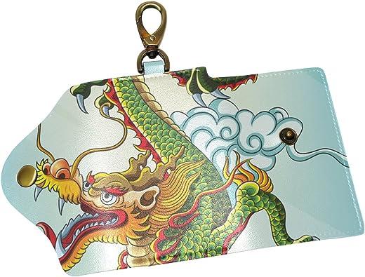 KEAKIA Peacock Pattern Leather Key Case Wallets Tri-fold Key Holder Keychains with 6 Hooks 2 Slot Snap Closure for Men Women