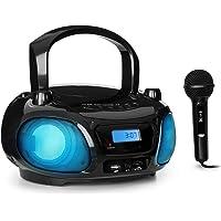 auna Roadie Sing Radio CD Chaîne Stéréo Boombox Lecteur CD Port USB MP3 Radio FM Bluetooth 3.0 Eclairage LED Fonctionnement sur Piles ou Secteur Fonction Sing-A-Long Noir