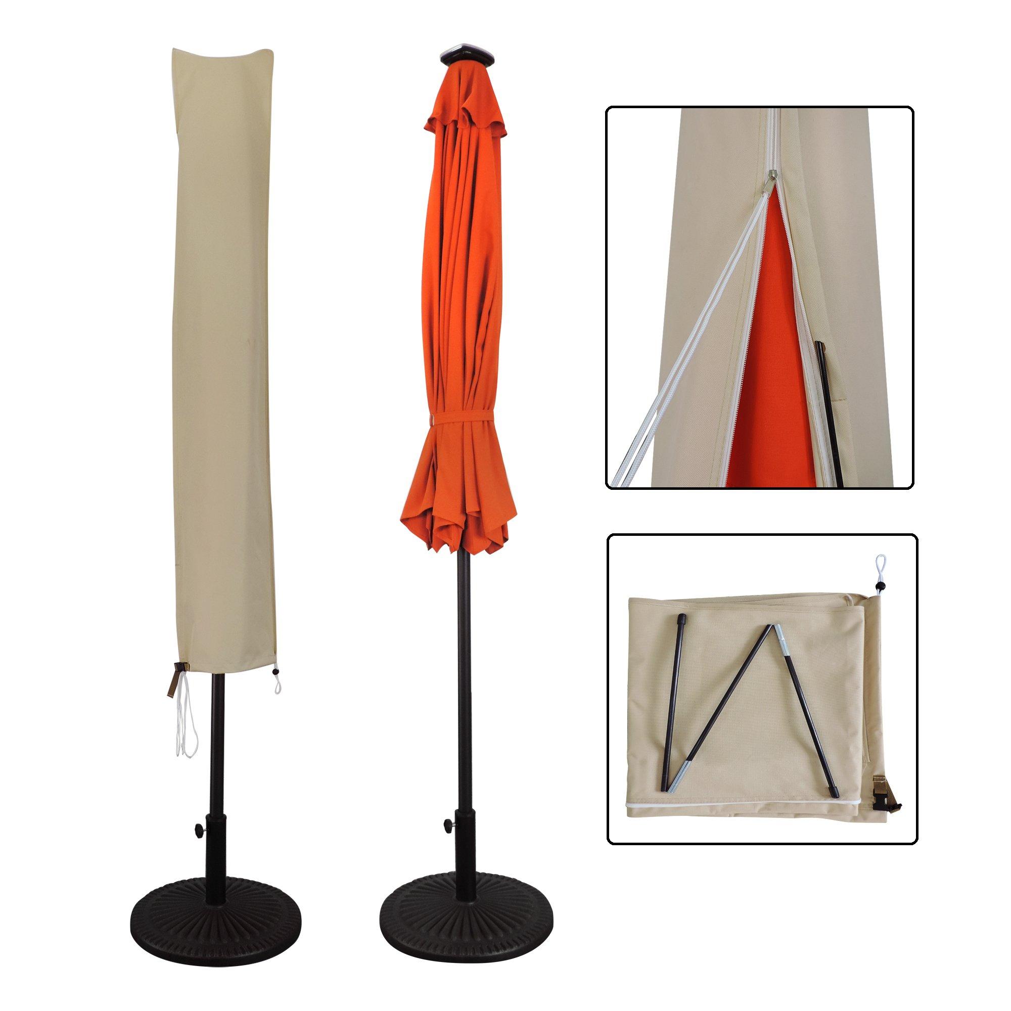 Aok Garden Outdoor Market Patio Umbrella Covers for 7 to 11 FT Umbrella,Water Resistant,Beige,Oxford Fabric