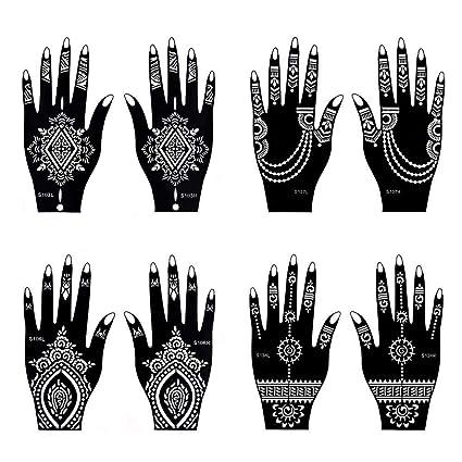 Tatuajes temporales Henna tatuaje indio pintura tatuaje plantilla autoadhesiva cuerpo arte diseños para manos – temporales