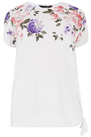 af0d7e103c9 Yours Women s Plus Size White   Floral Print Embellished Top with Tie Hem  Size ...