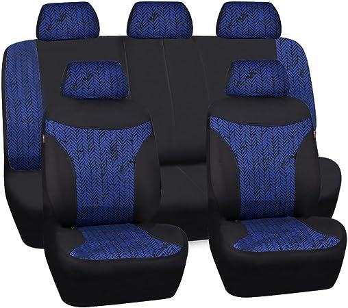 Car Pass 11 X Universal Autositzbezug Mit Reservierten Öffnungslöchern Für Kopfstützenbezüge Und Gürtel Airbag Kompatibel Für Suvs Limousinen Lkws Schwarz Mit Blau Auto