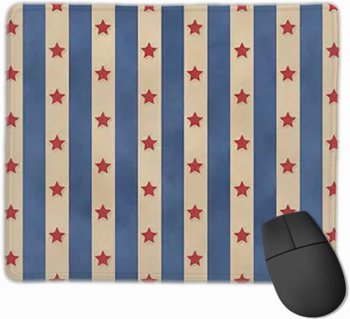 2530 Joyce-life Faded Stars Stripes Pattern Mouse Pads for Computers Laptop Non-Slip Rubber Base Stitched Edge Waterproof Office Mouse Pad Office Gaming Computer at Home Or Work Size