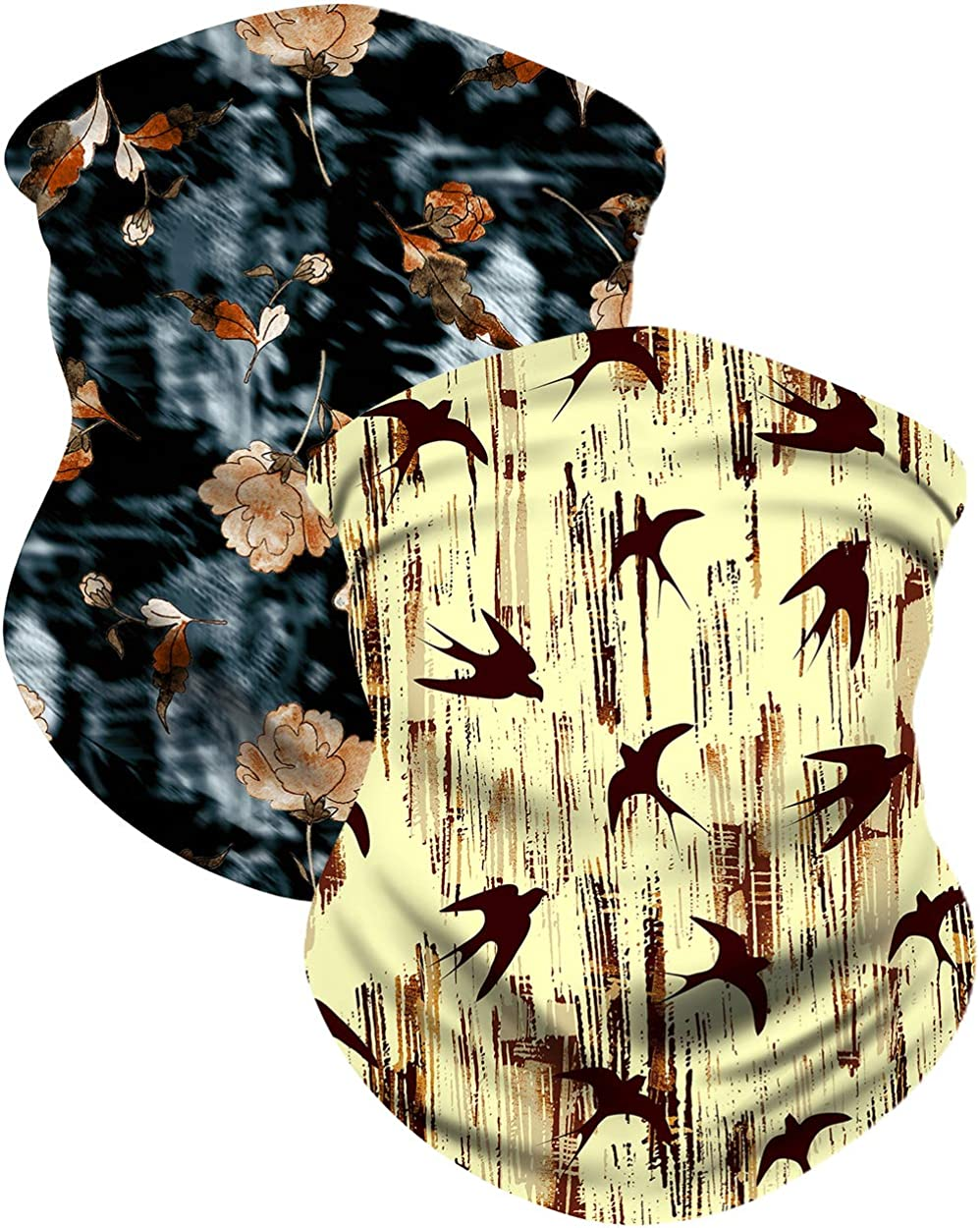 2 Pack Neck Gaiter Face Scarf Mask-Dust, Stylish Cooling Sports Cloth Shield Balaclava Moisture Wicking UPF 50+ Unisex