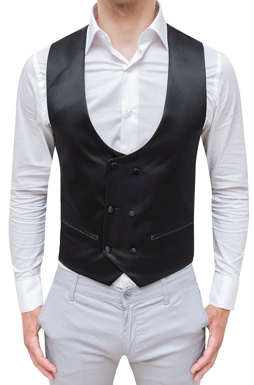 Evoga Gilet panciotto uomo sartoriale doppiopetto nero raso elegante cerimonia