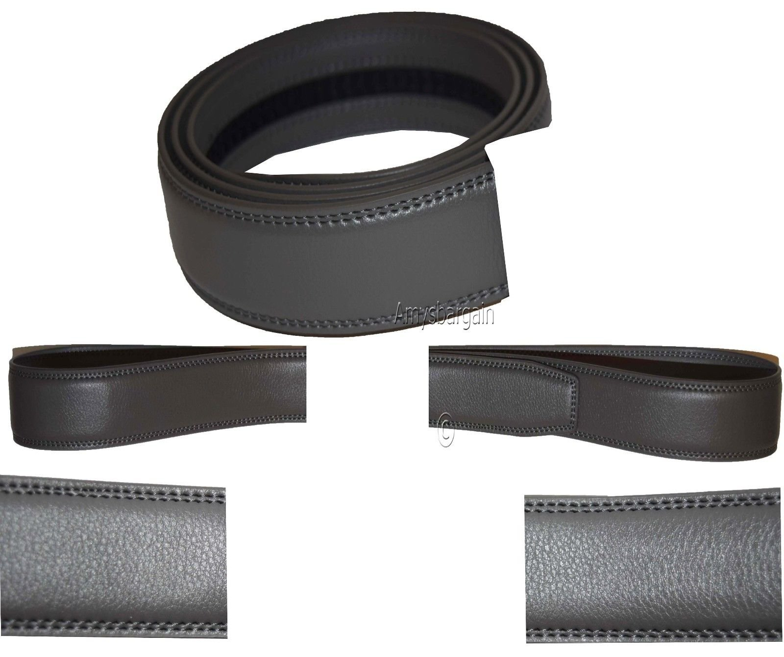 Women/Men's Leather belt strap only Replacement strap for Auto-lock buckle 1.10'' (Gray, 29-30)