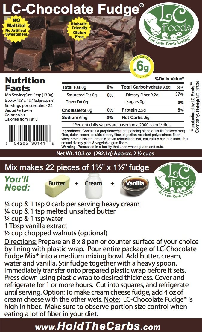 Low Carb Chocolate Fudge Mix - LC Foods - All Natural - Gluten Free - No Sugar - Diabetic Friendly - 10.3 oz