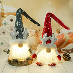 Gnome Christmas Decorations with LED Light - 2 Pack Handmade Swedish Tomte Plush Gnomes - Scandinavian Santa Elf Table Ornaments - Nordic Nisse Gnome Holiday Decor Gift (Antler Style, 19-inch)