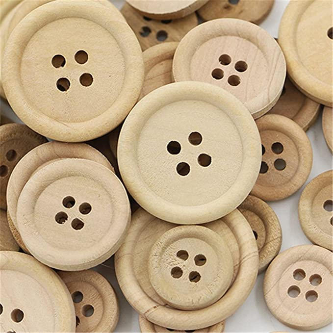 c614c62b656f0 Amazon.com: MAXGOODS 150 Pieces Natural Wood Color Handmade Tag Label Mixed  Size Round Buttons with 4 Holes Craft Decorations Sew Accessories  Scrapbooking ...