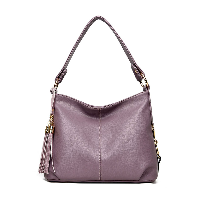 NOTAG PU Leather Hobo Handbag Top Handle Shoulder Bag Tote Bags with Tassel Crossbody Bag Designer Fashion Durable Hobo Style Purse Satchel for Women (Purple)