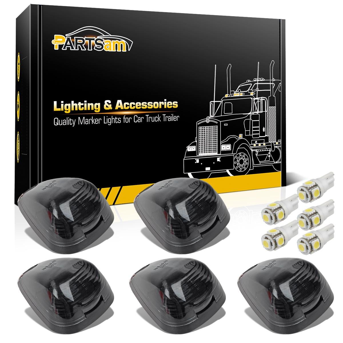 Partsam 5x Black Smoke Lens Cab Roof Marker Running Lamps w/White LED Lights Replacement For 1999-2016 Ford F150 F250 F350 F450 F550 F650 F750 E150 E250 E350 E450 Super Duty Pickup Trucks