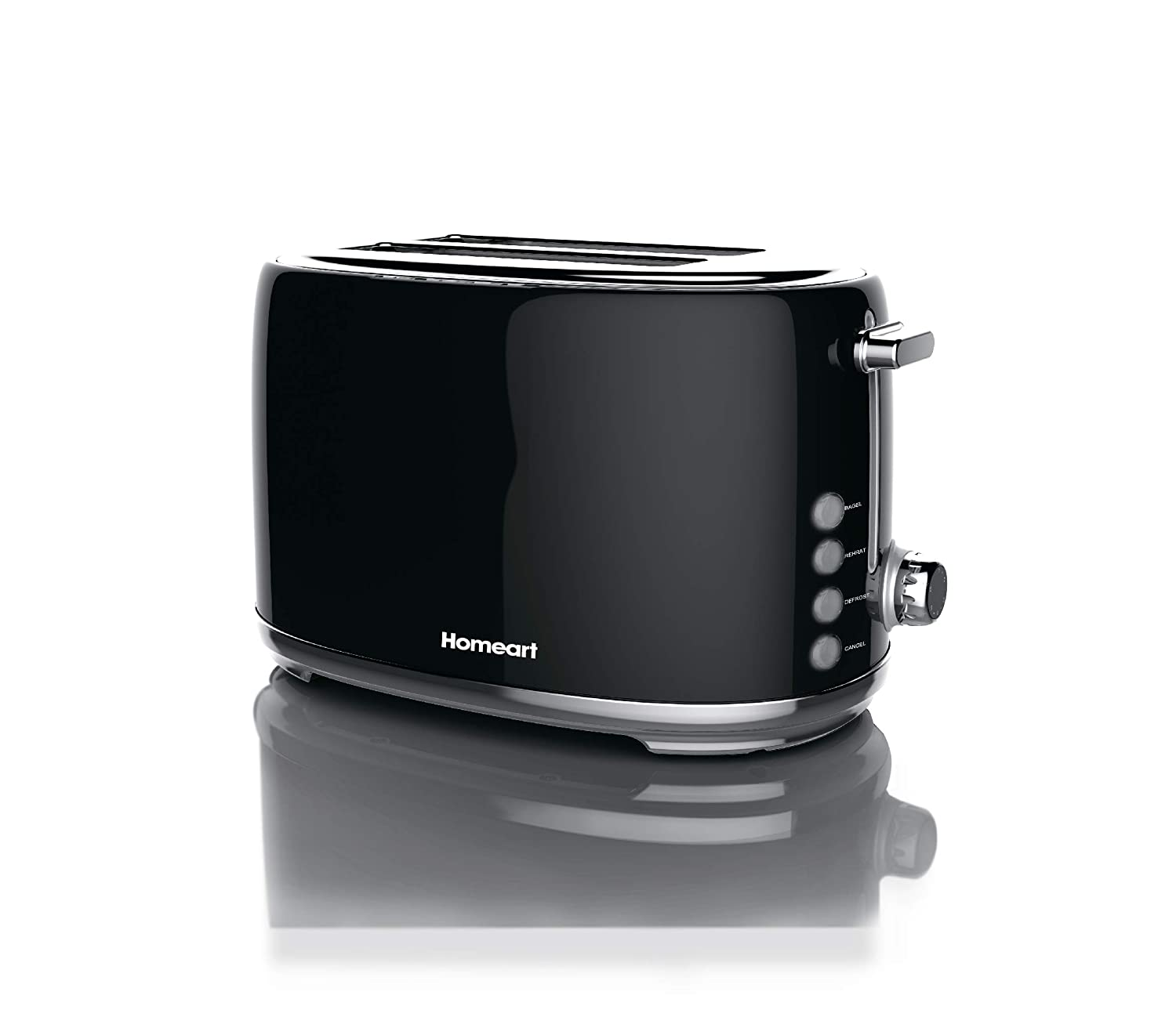 Artisan 2 Slot Toaster by Homeart | 2019 Best Electric Toaster with Multi-Function Toaster Options | Vintage Toaster Stainless Steel (Black)
