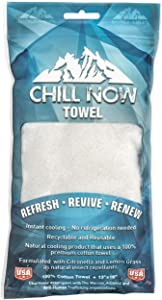 """Chill Now Towel - Cooling Towel (13"""" X 16""""), Instant Cooling, No Refrigeration Needed, and Formulated with Natural Insect Repellant…"""