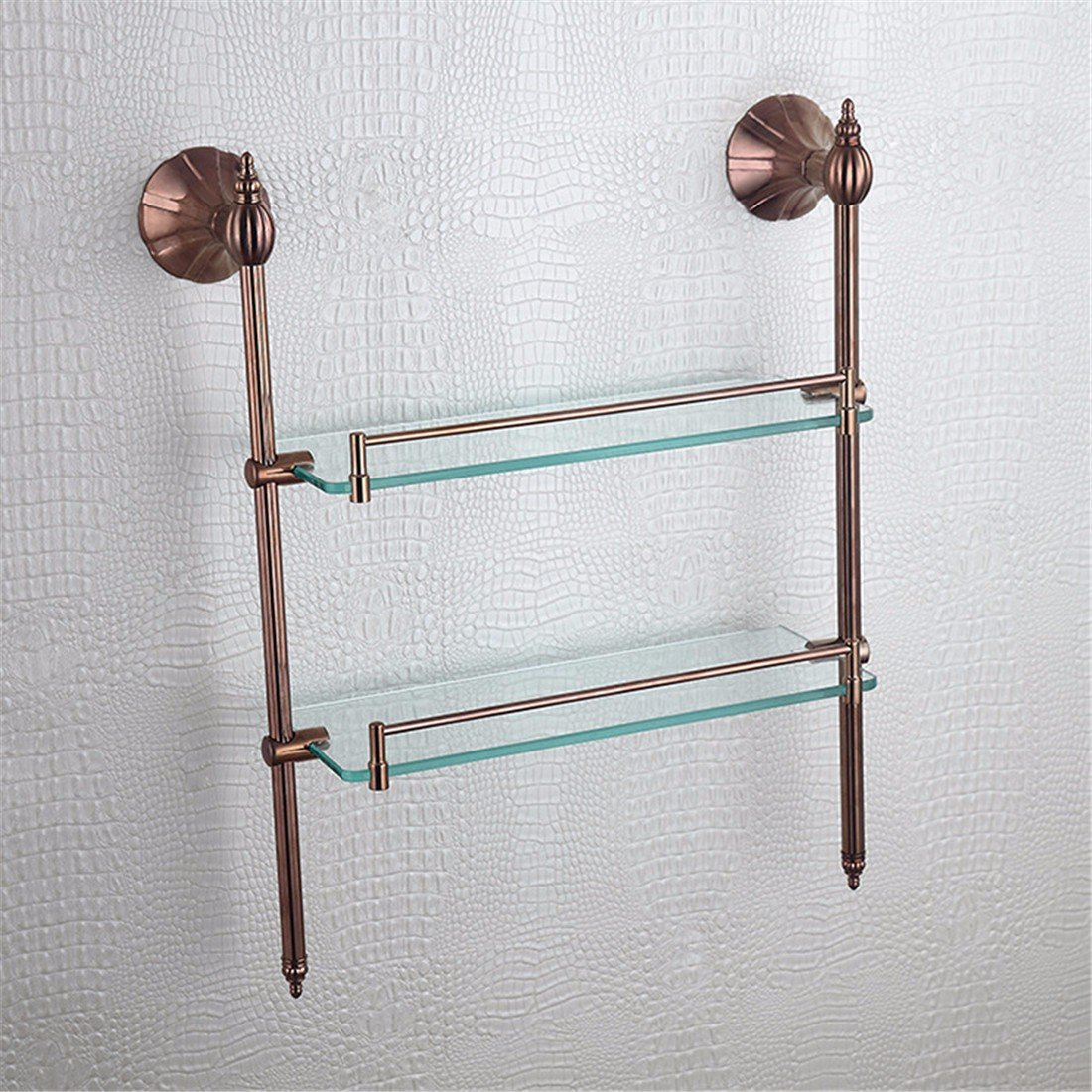 LAONA European style full copper rose gold petal base, bathroom accessories, towel rack, single and double pole, single and double toothbrush holder,Rack 2