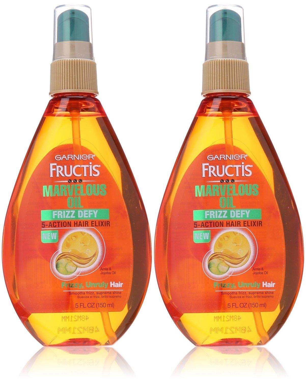 Garnier Fructis Marvelous Oil Frizz Defy 5-Action Hair Elixir For Unruly Hair 5 oz (Pack of 2)