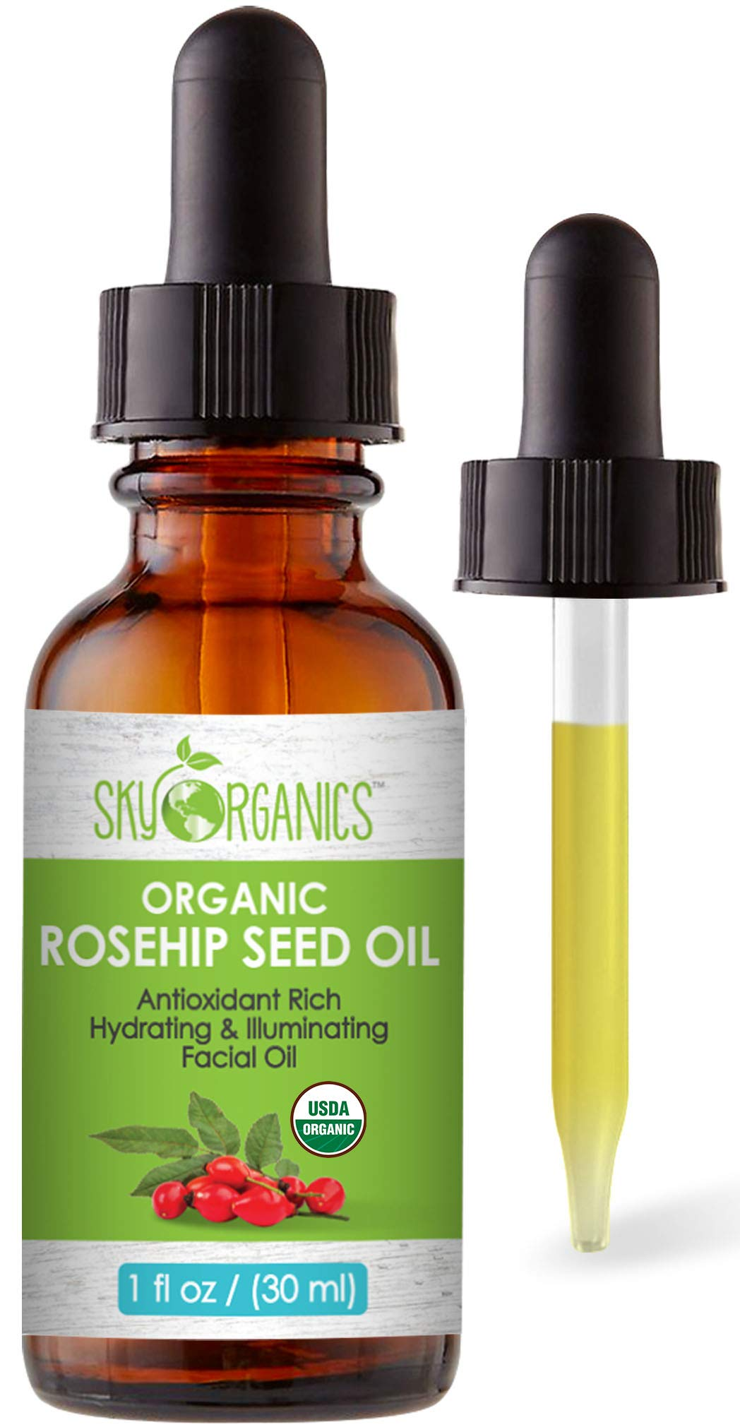 Organic Rosehip Oil by Sky Organics, Cold-Pressed Cruelty-Free Rosehip Seed Oil, Anti-aging Face Oil, Antioxidant Face Oil, 100% Pure Anti-Aging Rosehip Seed Oil for Radiant Skin, Hair and Acne (1oz)