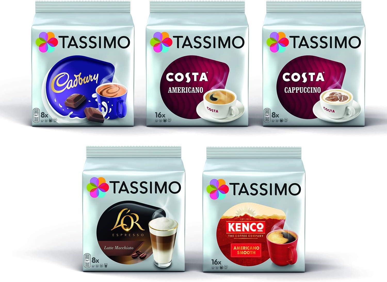 Tassimo Coffee Variety Bundle Costa Cappuccinoamericano Cadbury Hot Chocolate Lor Latte Macchiatocaramel Kenco Americano Pods Pack Of 5 56