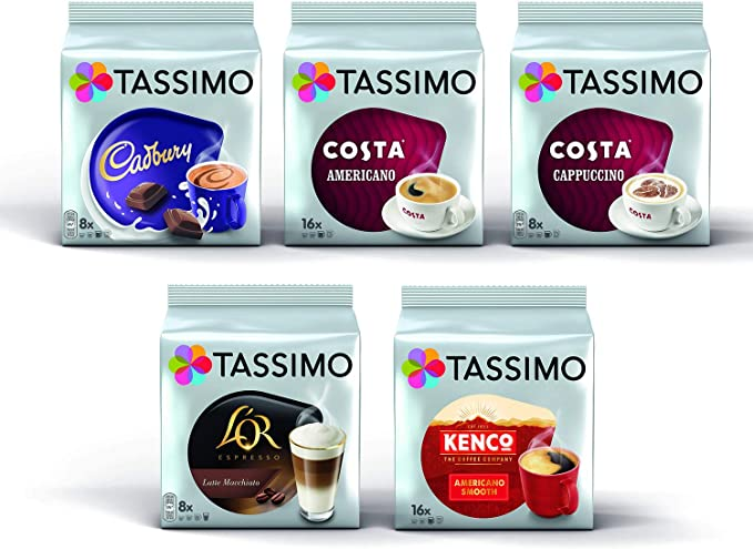 Tassimo Coffee Variety Bundle Costa Cappuccinoamericano Cadbury Hot Chocolate Lor Latte Macchiatocaramel Kenco Americano Pods Pack Of 5 56