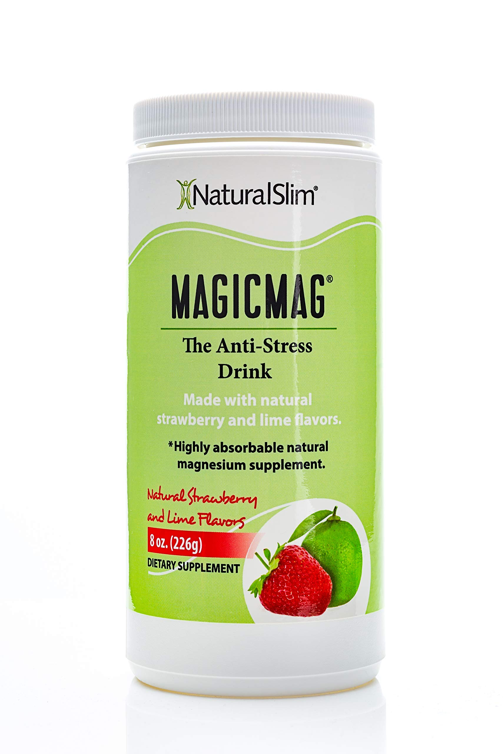 NaturalSlim Anti Stress Drink - Pure Magnesium Citrate Powder with Organic Strawberry and Lime Flavor -