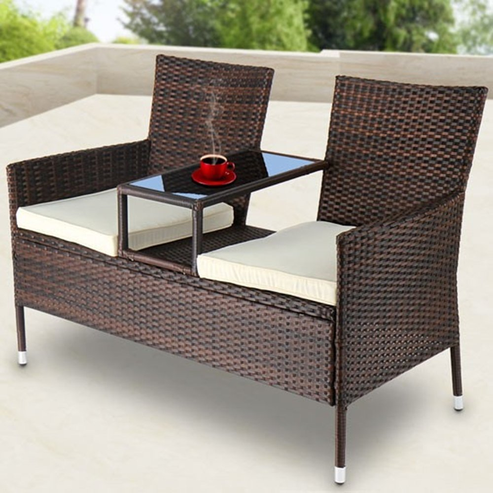 ssitg polyrattan gartensofa gartenbank mit tisch sitzbank tete a tete bank gartenm bel g nstig. Black Bedroom Furniture Sets. Home Design Ideas