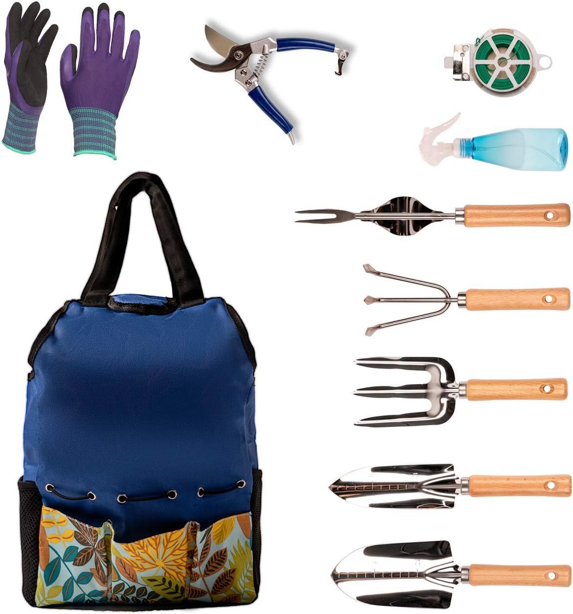 Rainyk 10 Pieces Garden Tool Set—Stainless Steel Heavy Duty Gardening Tools —Gardening Gifts for Women Men