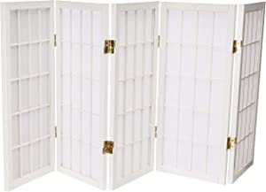 Oriental Furniture 2 ft. Tall Desktop Window Pane Shoji Screen - White - 5 Panels