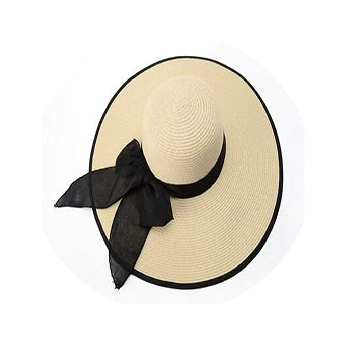 40a763623 Fashion Straw Hat Women Summer Casual Wide Brim Sun Cap Bow Knot ...