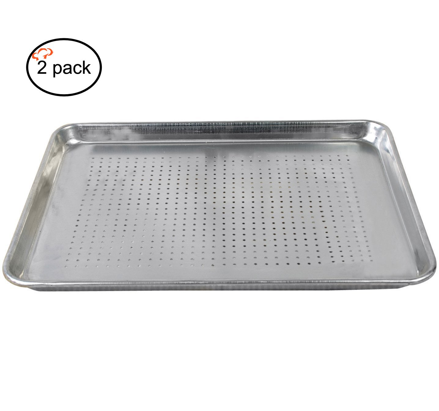 Tiger Chef Full Size Aluminum Sheet Pan - Commercial Bakery Equipment Cake Pans - NSF Approved 2 Pack (2, 18'' x 26'' Full Size Perforated)