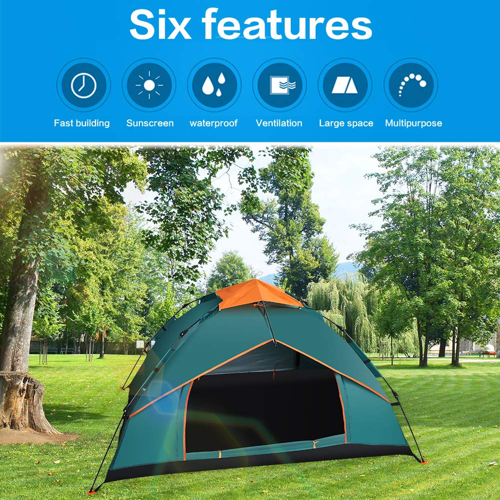 Portable Camping Tent Double layer Waterproof Beach Tent 210 * 210 * 150cm GEEDIAR Pop Up Tent Instant Automatic Backpacking Tent Outdoor Sun Shelter With Carry Bag Suitable for Family 3-4 Person