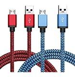 Micro USB Kabel Nylon, BeneStellar [ Rot & Blau 0,9m* 2 ] 2,4A [ USB Schnellladekabel ] High Speed Micro USB datenkabel und ladekabel für Kindle, PS4 Controller, MP3 Player, Samsung, Huawei, HTC, Sony, Nexus, Xiaomi und mehr