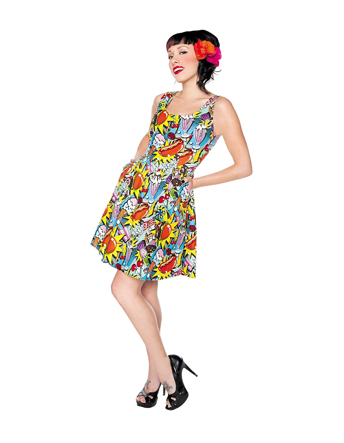 Retrolicious Snack Attack Dress Novelty Print Retro Pin Up