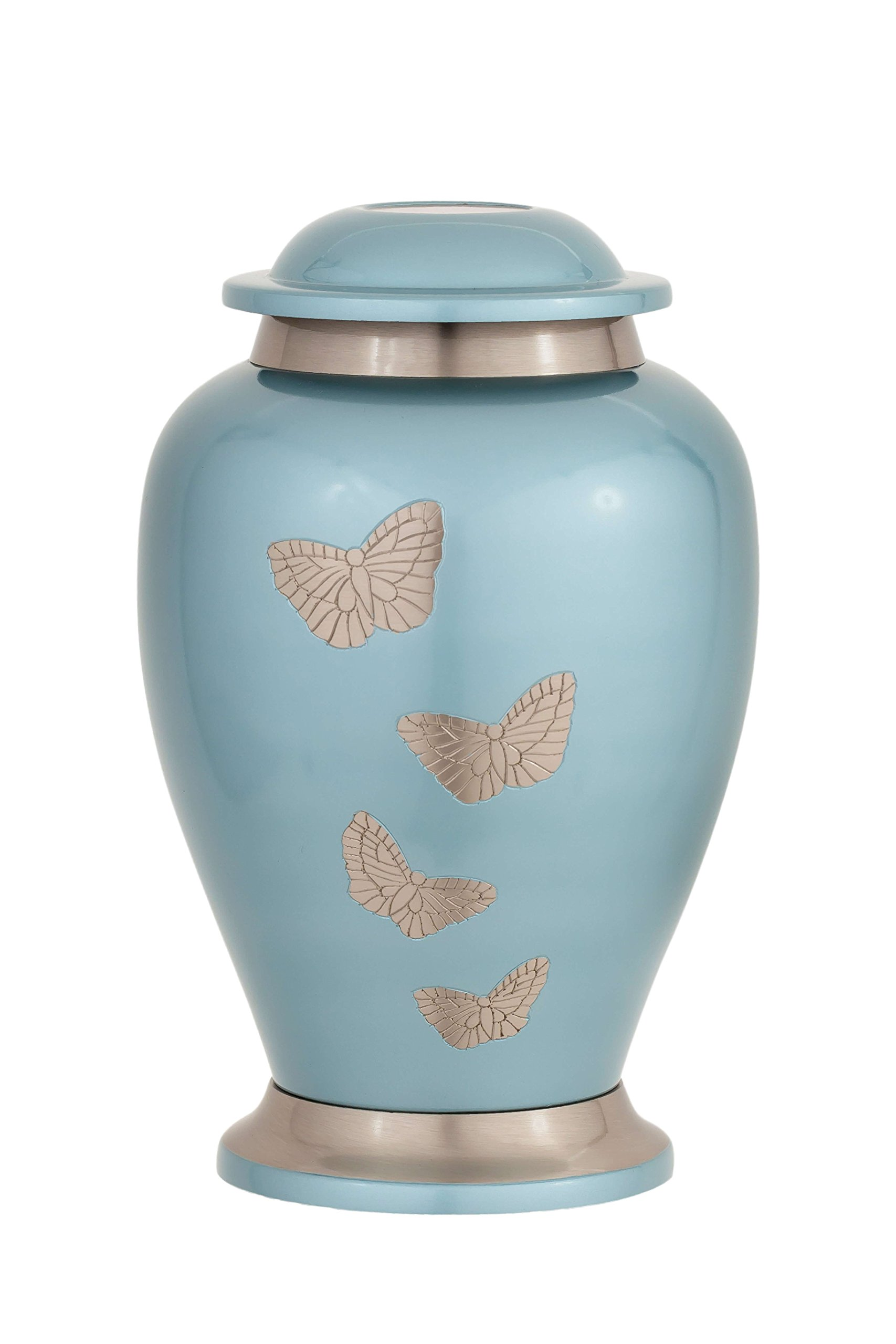 Enshrined Memorials Cremation Urn for Ashes - Apollo Series Affordable Solid Brass Metal Quality Handcrafted for Human Funeral Burial Large 10 inch, Teal with Butterflies