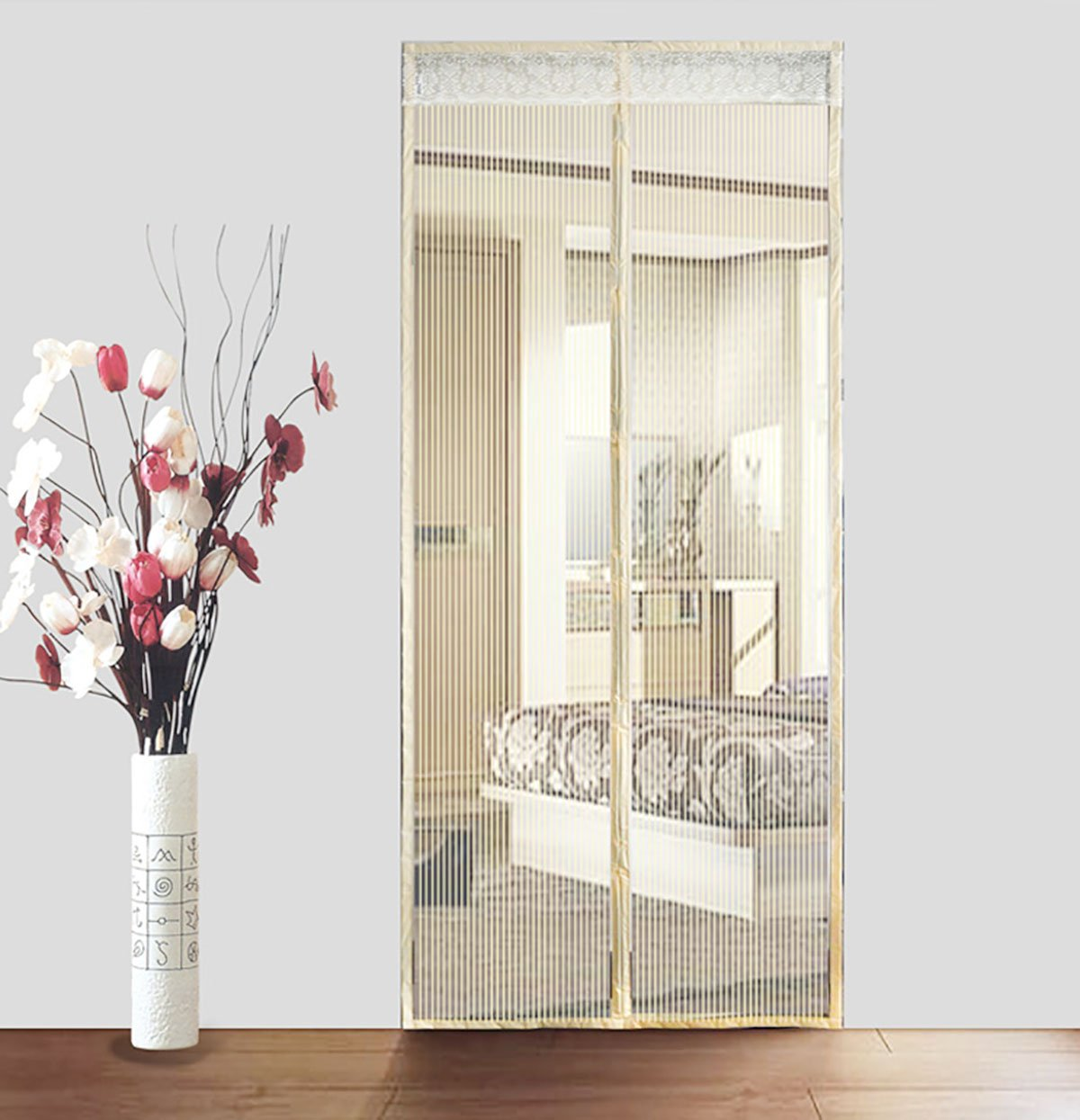 Q&F Magnetic Screen Door With Heavy Duty,Mesh Curtains,For Sliding Doors,Garage,Fishing Boat-super Quiet,Hands Free-let Fresh Air In-Beige 95x210cm(37x83inch)