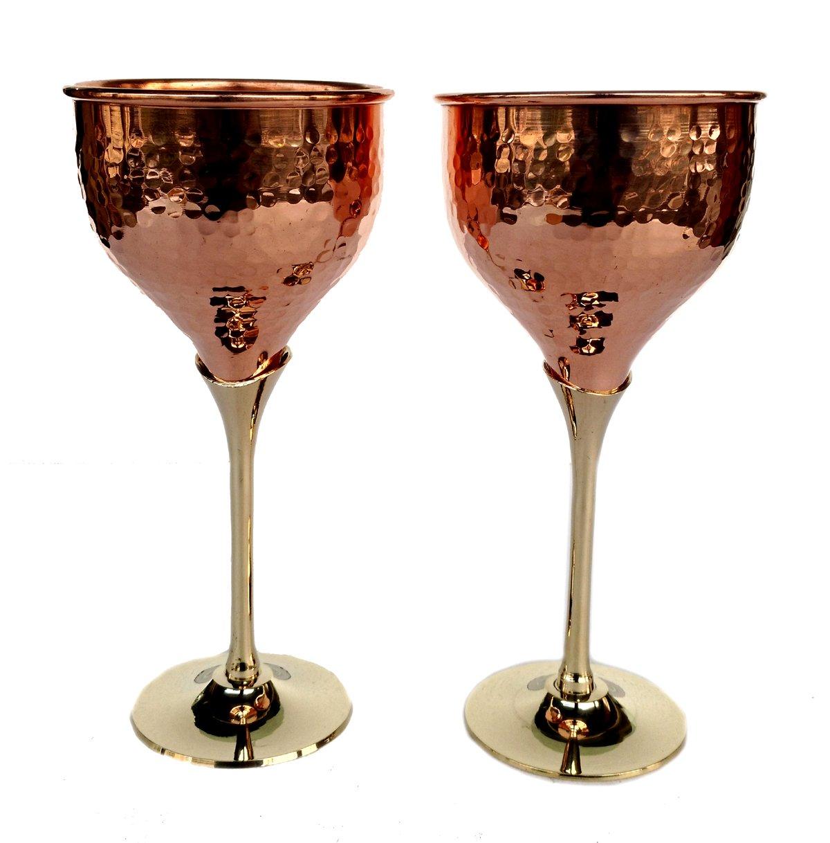 Rastogi Handicrafts Pure Copper Wine Glass Wine Whisky Cocktail Goblet Tableware Bar Hotel Restaurant Serving Set of (2)